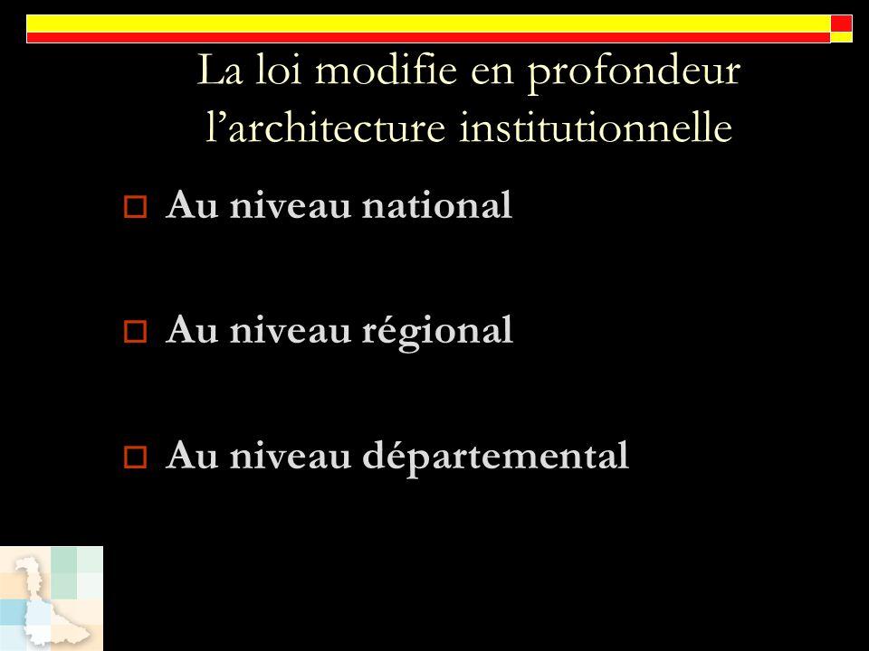 La loi modifie en profondeur larchitecture institutionnelle Au niveau national Au niveau régional Au niveau départemental