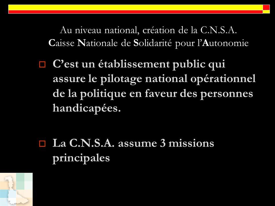 Au niveau national, création de la C.N.S.A. Caisse Nationale de Solidarité pour lAutonomie Cest un établissement public qui assure le pilotage nationa