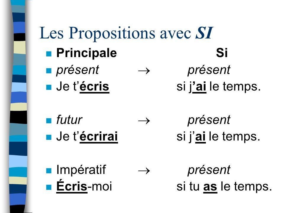 Les Propositions avec SI n Principale Si n présent présent n Je técris si jai le temps. n futur présent n Je técrirai si jai le temps. n Impératif pré