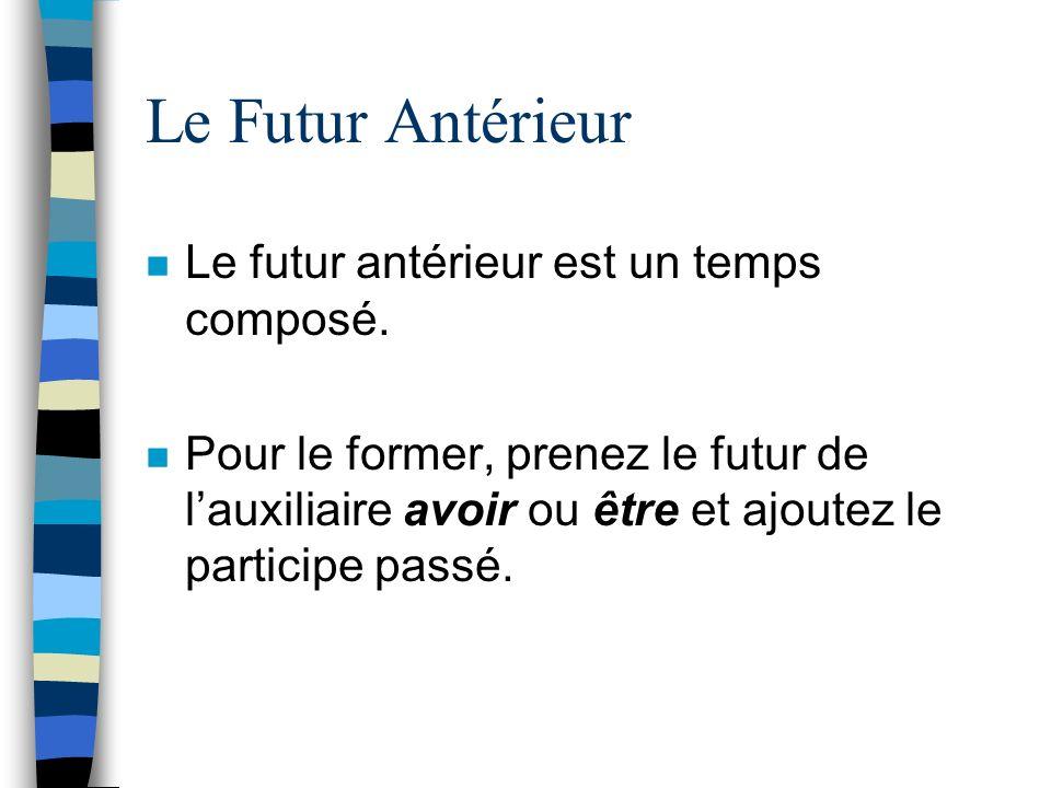 Le Futur Antérieur n Le futur antérieur est un temps composé. n Pour le former, prenez le futur de lauxiliaire avoir ou être et ajoutez le participe p