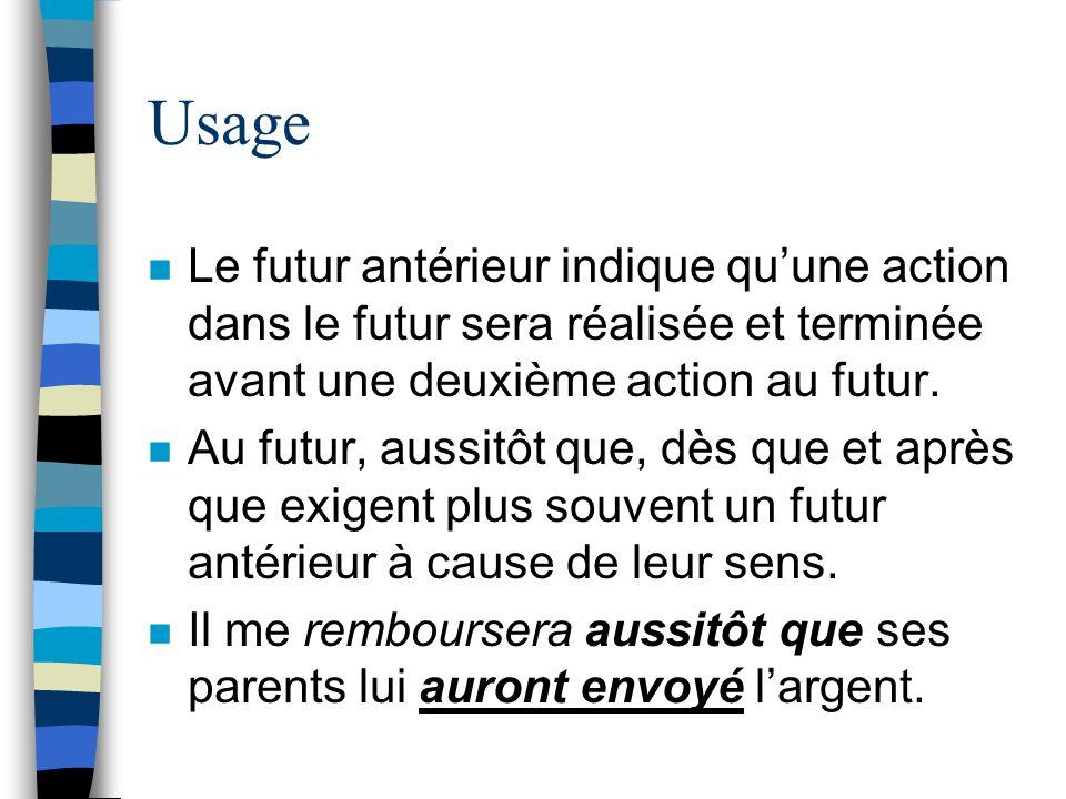 Usage n Le futur antérieur indique quune action dans le futur sera réalisée et terminée avant une deuxième action au futur. n Au futur, aussitôt que,