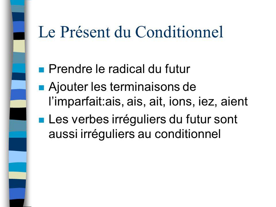 Le Présent du Conditionnel n Prendre le radical du futur n Ajouter les terminaisons de limparfait:ais, ais, ait, ions, iez, aient n Les verbes irrégul
