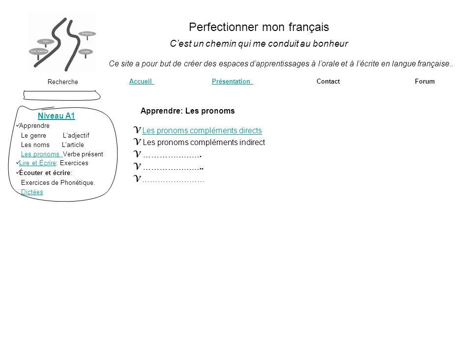 Perfectionner mon français Cest un chemin qui me conduit au bonheur Recherche Accueil Accueil Présentation Contact Forum Ce site a pour but de créer d