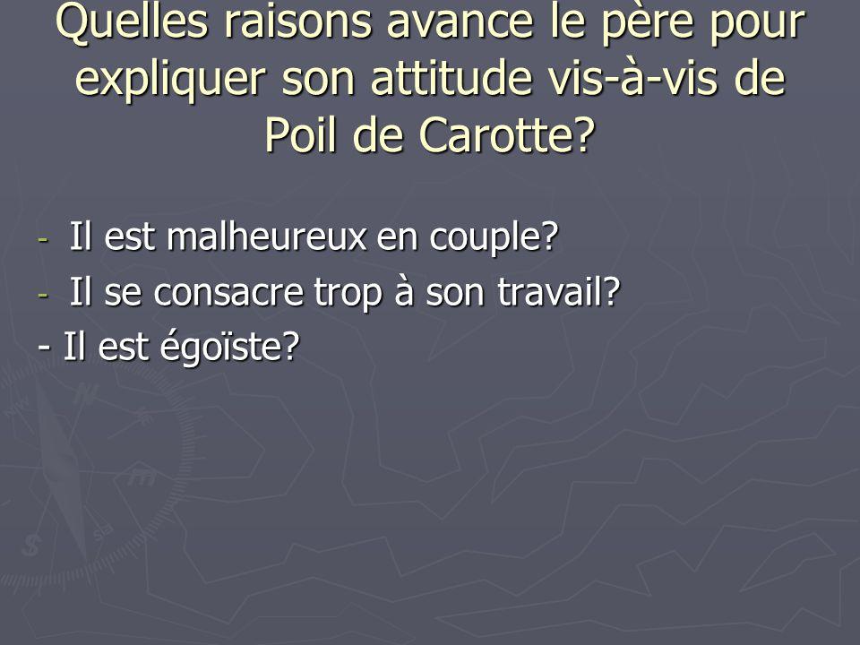 Quelles raisons avance le père pour expliquer son attitude vis-à-vis de Poil de Carotte? - Il est malheureux en couple? - Il se consacre trop à son tr