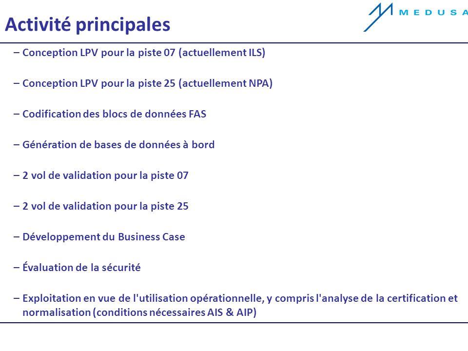 Activité principales –Conception LPV pour la piste 07 (actuellement ILS) –Conception LPV pour la piste 25 (actuellement NPA) –Codification des blocs de données FAS –Génération de bases de données à bord –2 vol de validation pour la piste 07 –2 vol de validation pour la piste 25 –Développement du Business Case –Évaluation de la sécurité –Exploitation en vue de l utilisation opérationnelle, y compris l analyse de la certification et normalisation (conditions nécessaires AIS & AIP)