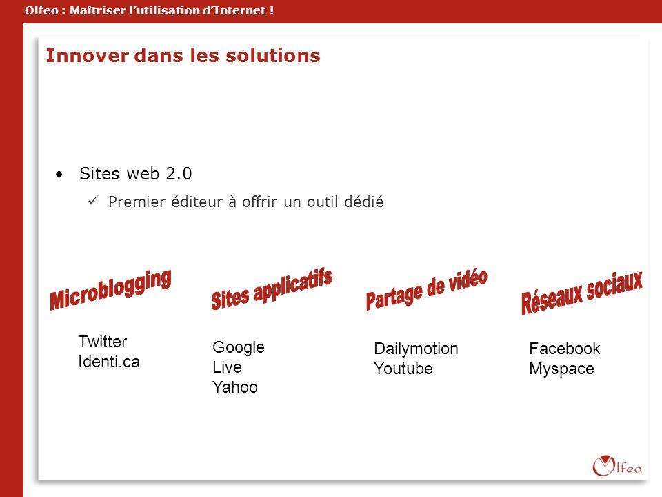 Olfeo : Maîtriser lutilisation dInternet ! Innover dans les solutions Sites web 2.0 Premier éditeur à offrir un outil dédié Twitter Identi.ca Google L