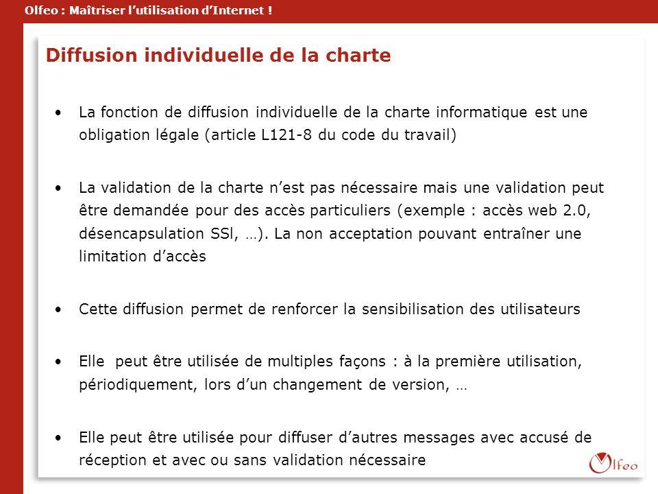 Olfeo : Maîtriser lutilisation dInternet ! Diffusion individuelle de la charte La fonction de diffusion individuelle de la charte informatique est une