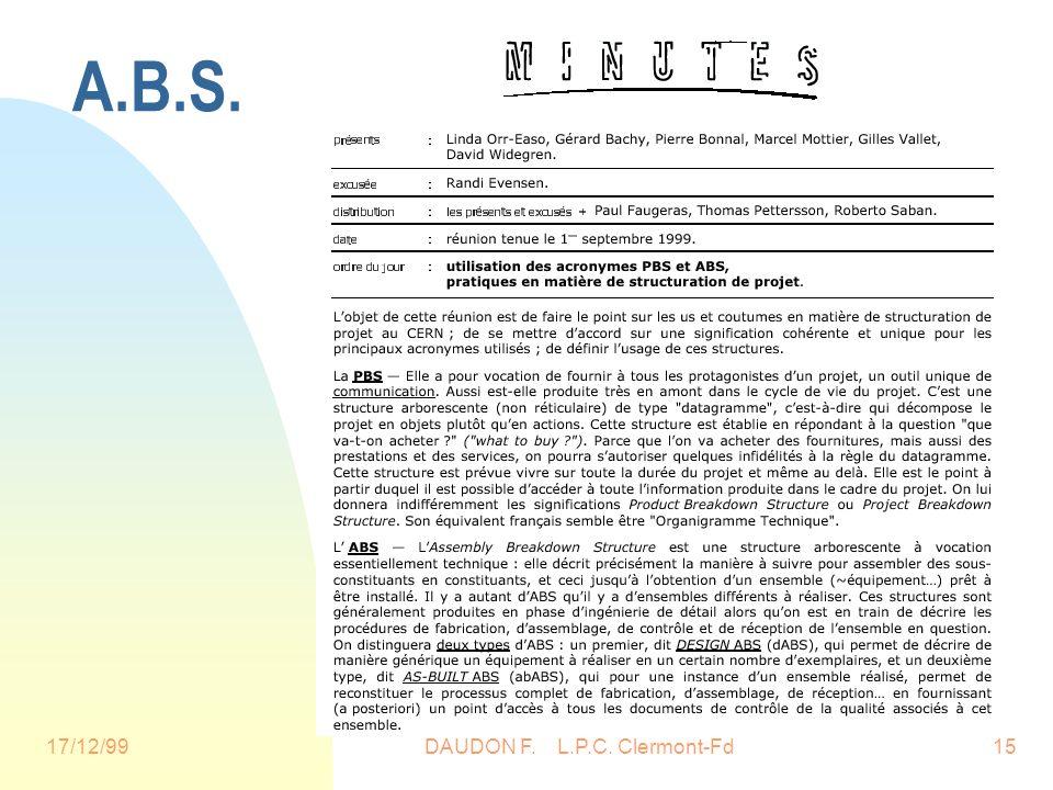 17/12/99DAUDON F. L.P.C. Clermont-Fd15 A.B.S.