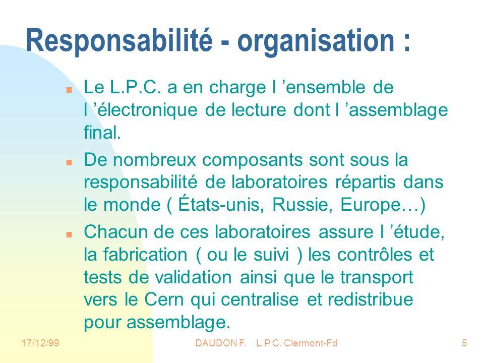 17/12/99DAUDON F. L.P.C. Clermont-Fd5 Responsabilité - organisation : n Le L.P.C.