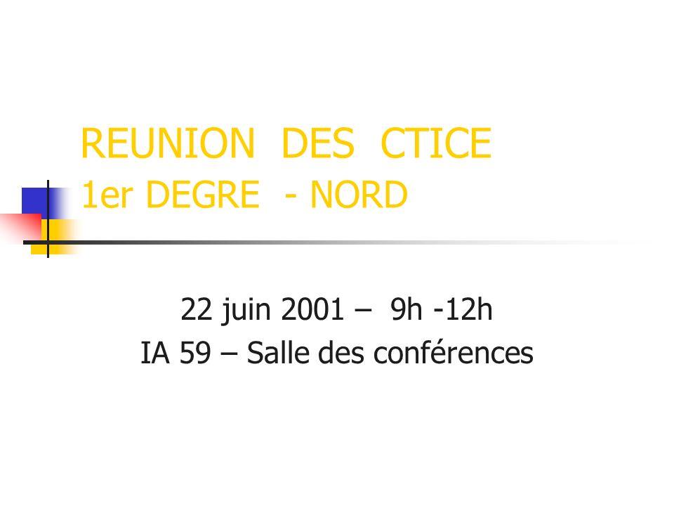 REUNION DES CTICE 1er DEGRE - NORD 22 juin 2001 – 9h -12h IA 59 – Salle des conférences