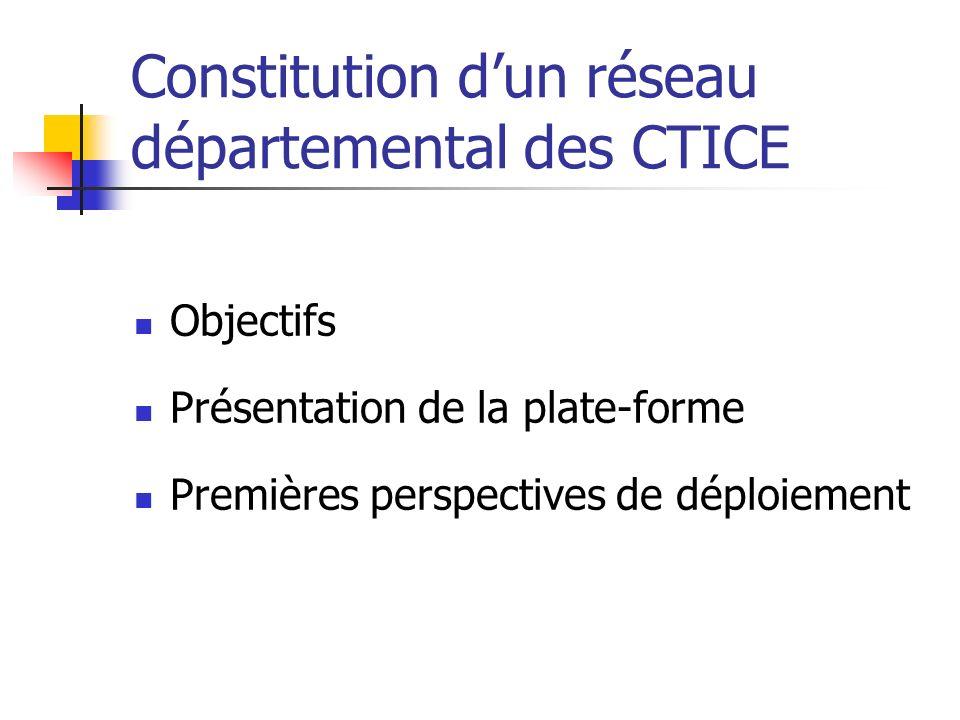 Constitution dun réseau départemental des CTICE Objectifs Présentation de la plate-forme Premières perspectives de déploiement