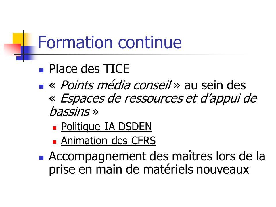 Formation continue Place des TICE « Points média conseil » au sein des « Espaces de ressources et dappui de bassins » Politique IA DSDEN Animation des CFRS Accompagnement des maîtres lors de la prise en main de matériels nouveaux