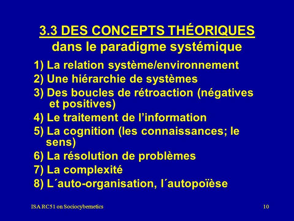 ISA RC51 on Sociocybernetics9 3.2 DES CONCEPTIONS MÉTAPHYSIQUES : dans le paradigme systémique 1) Nominalisme / constructivisme 2) Unité de la nature