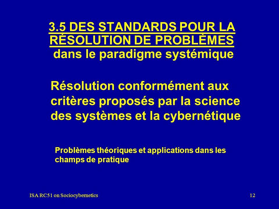 ISA RC51 on Sociocybernetics11 1)Langage graphique 2)Modélisation 3)Simulation sur ordinateur 3.4 UNE MÉTHODOLOGIE SPÉCIFIQUE dans le paradigme systém