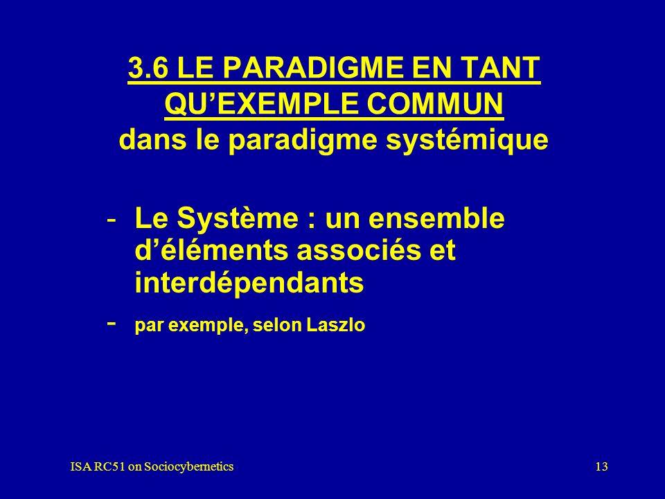 ISA RC51 on Sociocybernetics12 3.5 DES STANDARDS POUR LA RÉSOLUTION DE PROBLÈMES dans le paradigme systémique Résolution conformément aux critères pro