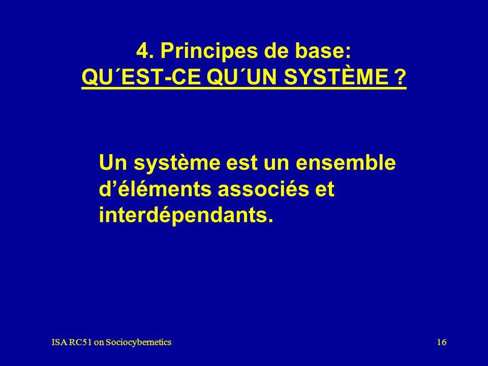 ISA RC51 on Sociocybernetics15 3.8 DES QUESTIONS ET PROBLÈMES SPÉCIFIQUES dans le paradigme systémique Toutes les questions et les problèmes en rappor
