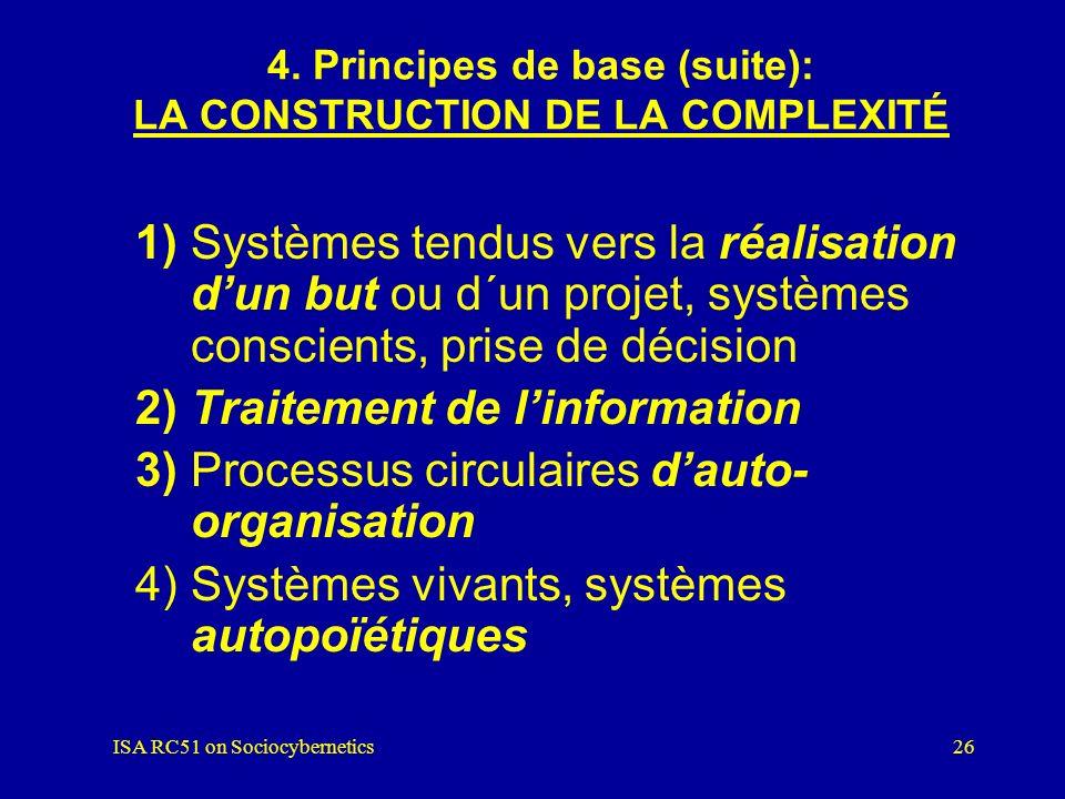 ISA RC51 on Sociocybernetics25 4. Principes de base (suite): LA CONSTRUCTION DE LA COMPLEXITÉ 1) Causalité circulaire 2) Rétroaction positive : amplif