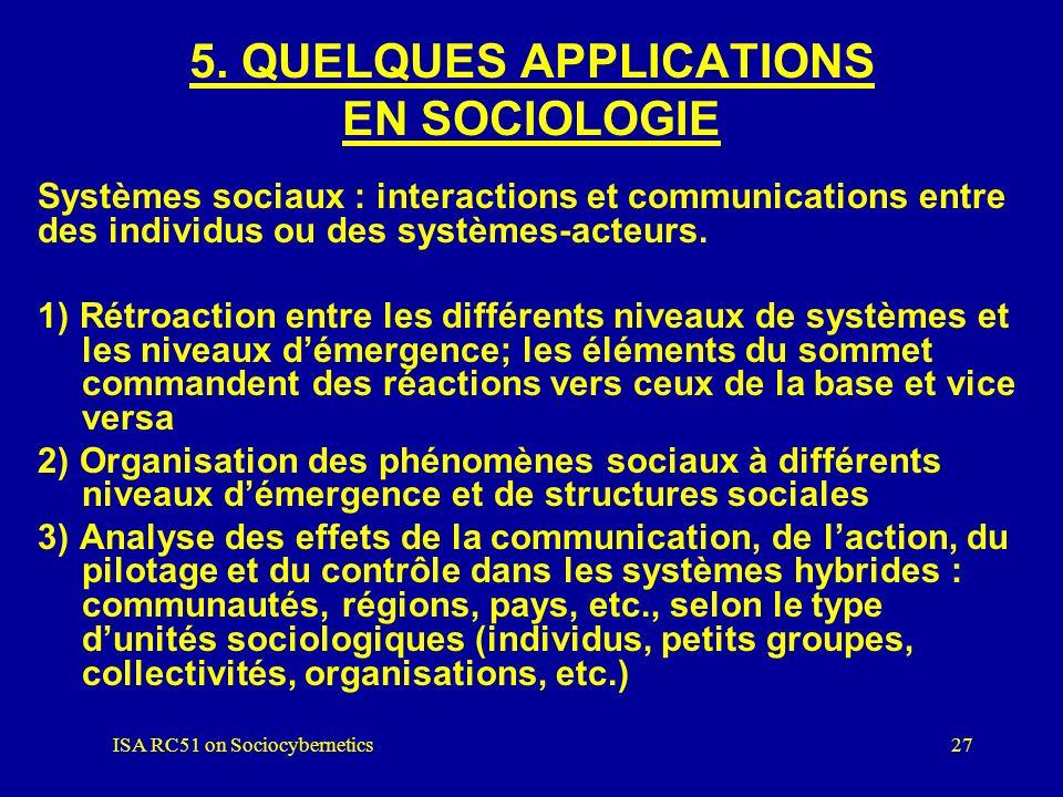 ISA RC51 on Sociocybernetics26 4. Principes de base (suite): LA CONSTRUCTION DE LA COMPLEXITÉ 1) Systèmes tendus vers la réalisation dun but ou d´un p