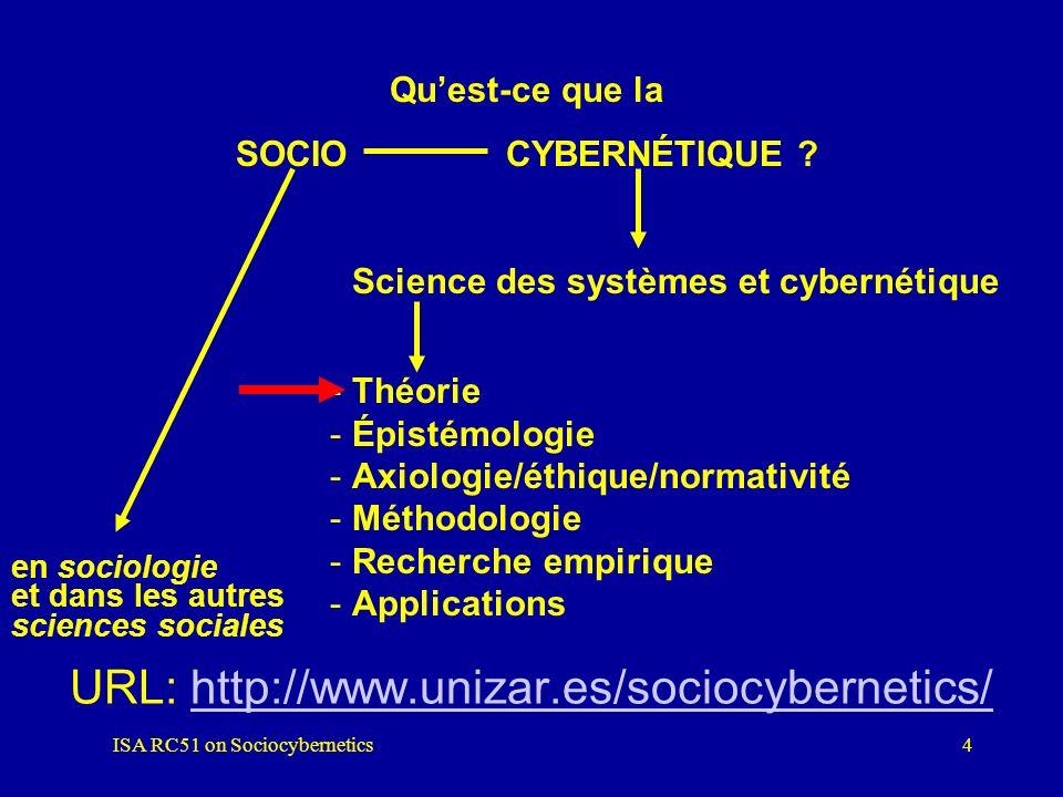 ISA RC51 on Sociocybernetics3 2. LA SOCIOCYBERNÉTIQUE Science des systèmes, systémique, théorie des systèmes... Étude des systèmes observés versus étu