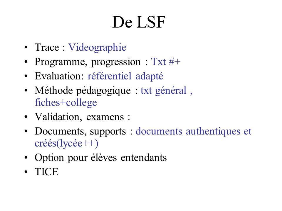 En LSF Articulation prog LSF - français Articulation prog LSF - langues étrangères: txt Mary Articulation LSF - disciplines : txtBri Vocabulaire technique,disciplinaire :++, iris, cnefei (cf suivi) Programme de français : progression différente Lire en LSF : txt et Vidéos (fr et angl) MP-ais(C3) Apprentissage de la lecture : MP Gers Documents, supports, partenaires : Méthodes pédagogiques : brouillonLSF-fr Via un interprète : limites .
