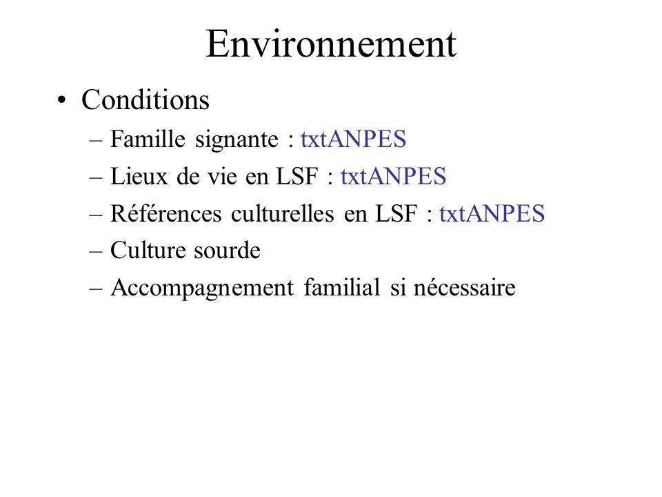 Environnement Conditions –Famille signante : txtANPES –Lieux de vie en LSF : txtANPES –Références culturelles en LSF : txtANPES –Culture sourde –Accom