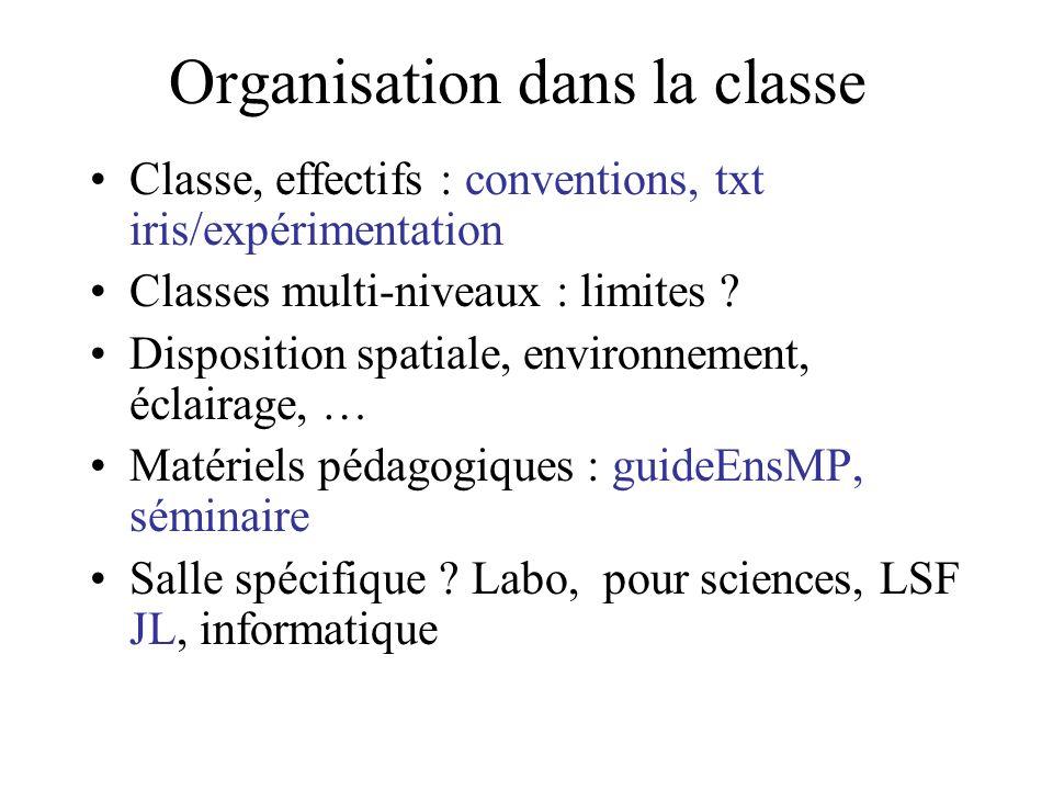 Organisation dans la classe Classe, effectifs : conventions, txt iris/expérimentation Classes multi-niveaux : limites ? Disposition spatiale, environn