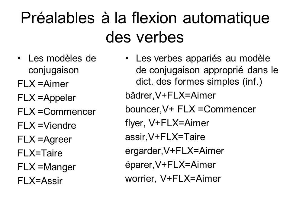Préalables à la flexion automatique des verbes Les modèles de conjugaison FLX =Aimer FLX =Appeler FLX =Commencer FLX =Viendre FLX =Agreer FLX=Taire FL