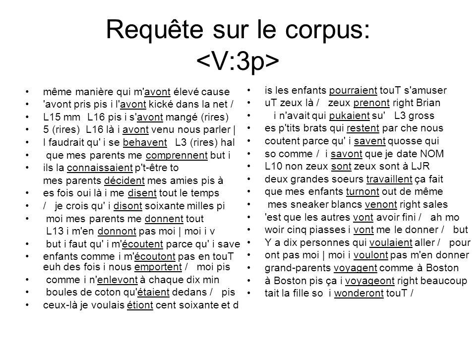 Requête sur le corpus: même manière qui m'avont élevé cause 'avont pris pis i l'avont kické dans la net / L15 mm L16 pis i s'avont mangé (rires) 5 (ri