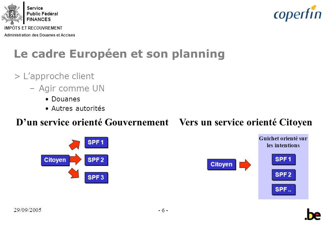 Service Public Fédéral FINANCES IMPÔTS ET RECOUVREMENT Administration des Douanes et Accises 29/09/2005 - 6 - Le cadre Européen et son planning >Lappr