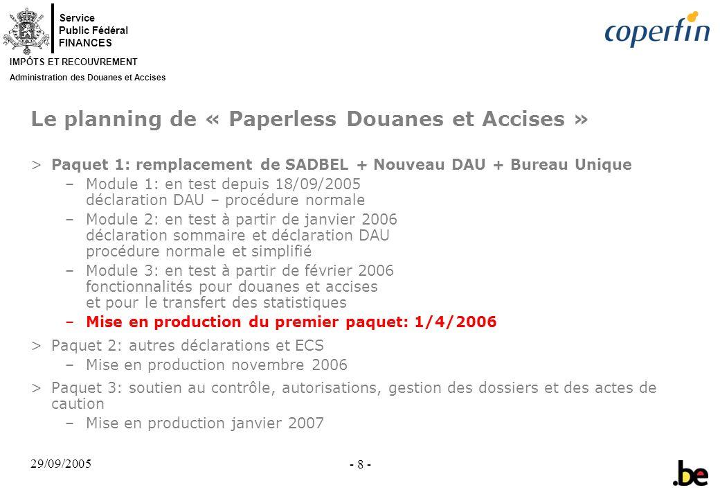 Service Public Fédéral FINANCES IMPÔTS ET RECOUVREMENT Administration des Douanes et Accises 29/09/2005 - 8 - Le planning de « Paperless Douanes et Ac