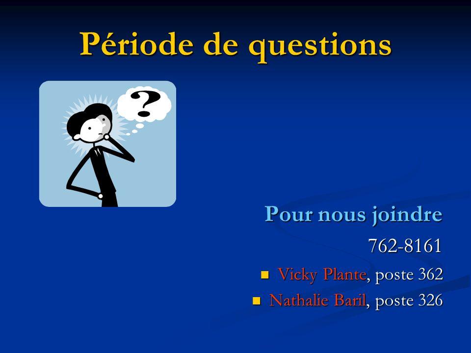 Période de questions Pour nous joindre 762-8161 Vicky Plante, poste 362 Vicky Plante, poste 362 Nathalie Baril, poste 326 Nathalie Baril, poste 326