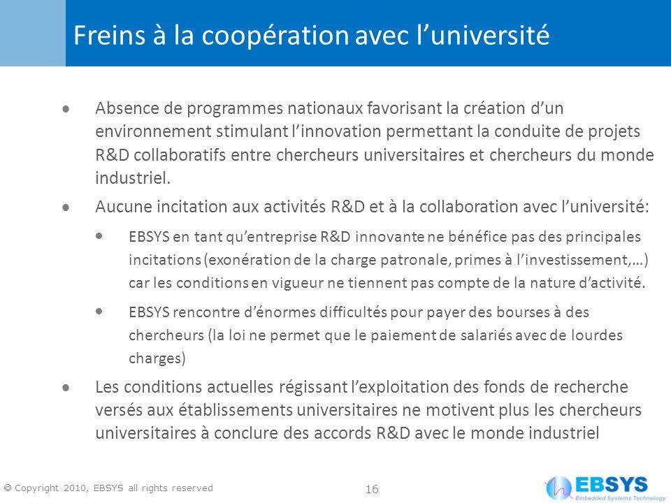16 Copyright 2010, EBSYS all rights reserved Absence de programmes nationaux favorisant la création dun environnement stimulant linnovation permettant la conduite de projets R&D collaboratifs entre chercheurs universitaires et chercheurs du monde industriel.