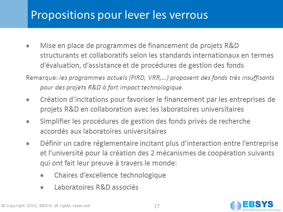 17 Copyright 2010, EBSYS all rights reserved Mise en place de programmes de financement de projets R&D structurants et collaboratifs selon les standar