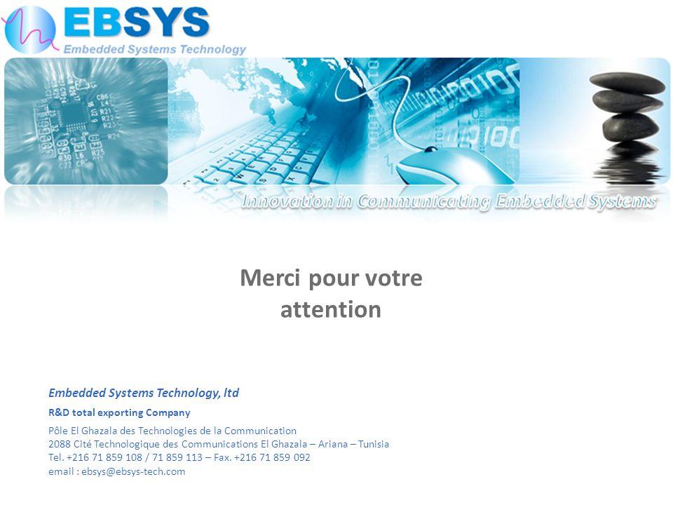 Embedded Systems Technology, ltd R&D total exporting Company Pôle El Ghazala des Technologies de la Communication 2088 Cité Technologique des Communications El Ghazala – Ariana – Tunisia Tel.