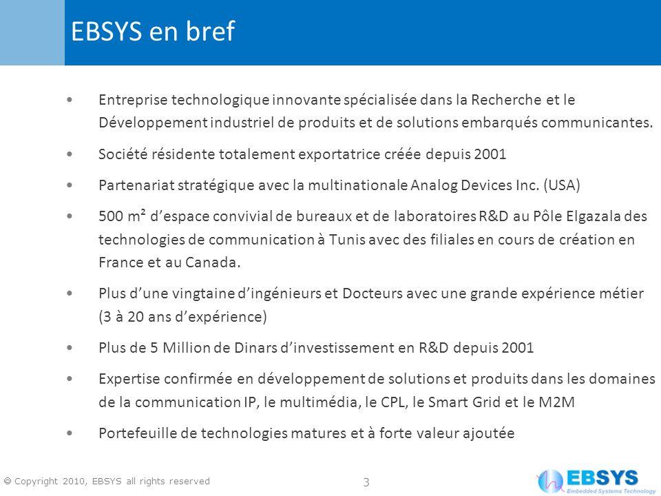 14 Copyright 2010, EBSYS all rights reserved Augmentation de linvestissement en R&D en Tunisie de la part dAnalog Devices à travers la conduite par les équipes dEBSYS de nouveaux programmes R&D Investissement dans des programmes R&D propres à EBSYS: e-health et M2M pour Smart City Renforcement des équipes de développement en Tunisie pour atteindre un objectif de 200 experts R&D dici 2015 dont 10% ayant le diplôme de Doctorat Planification dun investissement consistant en 2011 pour accompagner le renforcement des capacités R&D et de marketing des technologies développées par EBSYS Etablissement de partenariats avec les laboratoires de recherche ayant des expertises confirmées dans les domaines dactivité dEBSYS Participation active aux projets R&D nationaux et internationaux Stratégie de développement dactivités R&D