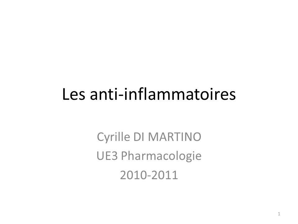 Les anti-inflammatoires Cyrille DI MARTINO UE3 Pharmacologie 2010-2011 1