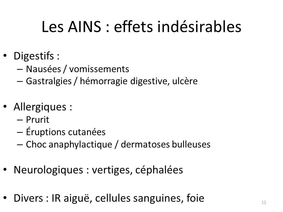 Les AINS : effets indésirables Digestifs : – Nausées / vomissements – Gastralgies / hémorragie digestive, ulcère Allergiques : – Prurit – Éruptions cu