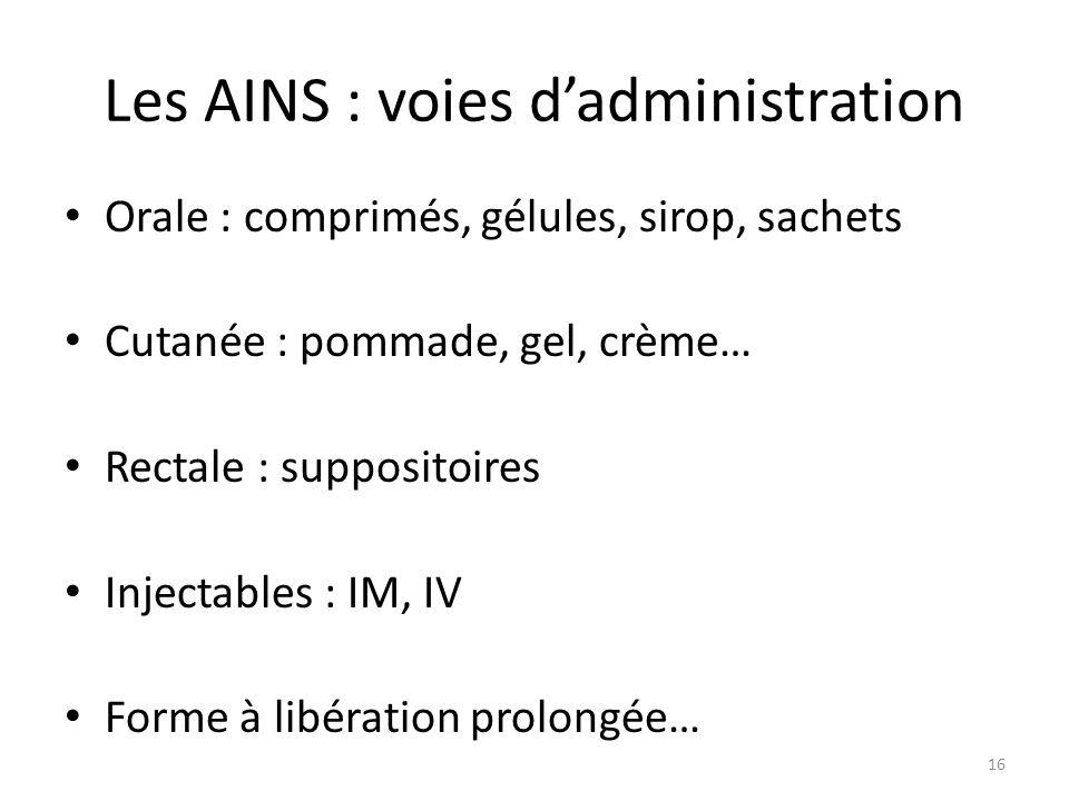 Les AINS : voies dadministration Orale : comprimés, gélules, sirop, sachets Cutanée : pommade, gel, crème… Rectale : suppositoires Injectables : IM, I