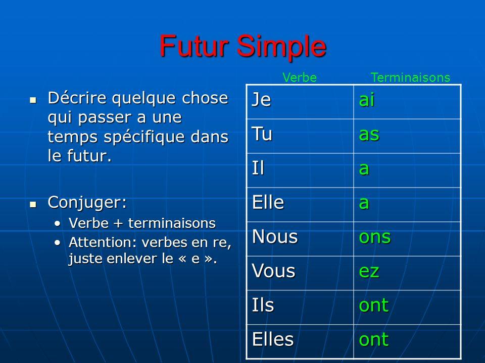 Futur Simple Décrire quelque chose qui passer a une temps spécifique dans le futur.