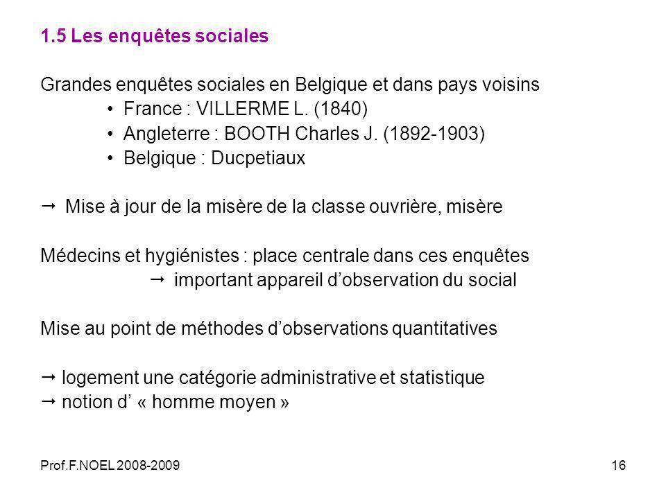 Prof.F.NOEL 2008-200916 1.5 Les enquêtes sociales Grandes enquêtes sociales en Belgique et dans pays voisins France : VILLERME L.