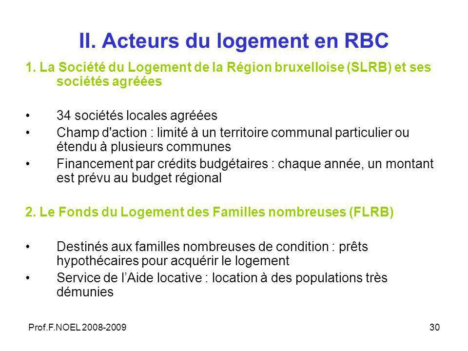 Prof.F.NOEL 2008-200930 II. Acteurs du logement en RBC 1.