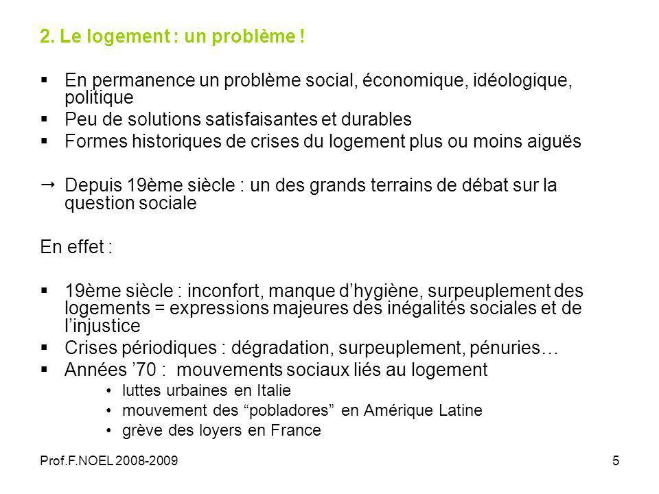 Prof.F.NOEL 2008-20095 2. Le logement : un problème .