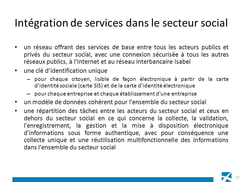 Intégration de services dans le secteur social un réseau offrant des services de base entre tous les acteurs publics et privés du secteur social, avec