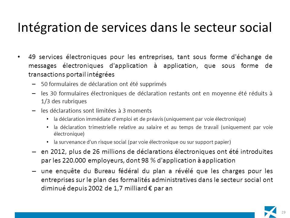 Intégration de services dans le secteur social 49 services électroniques pour les entreprises, tant sous forme d'échange de messages électroniques d'a
