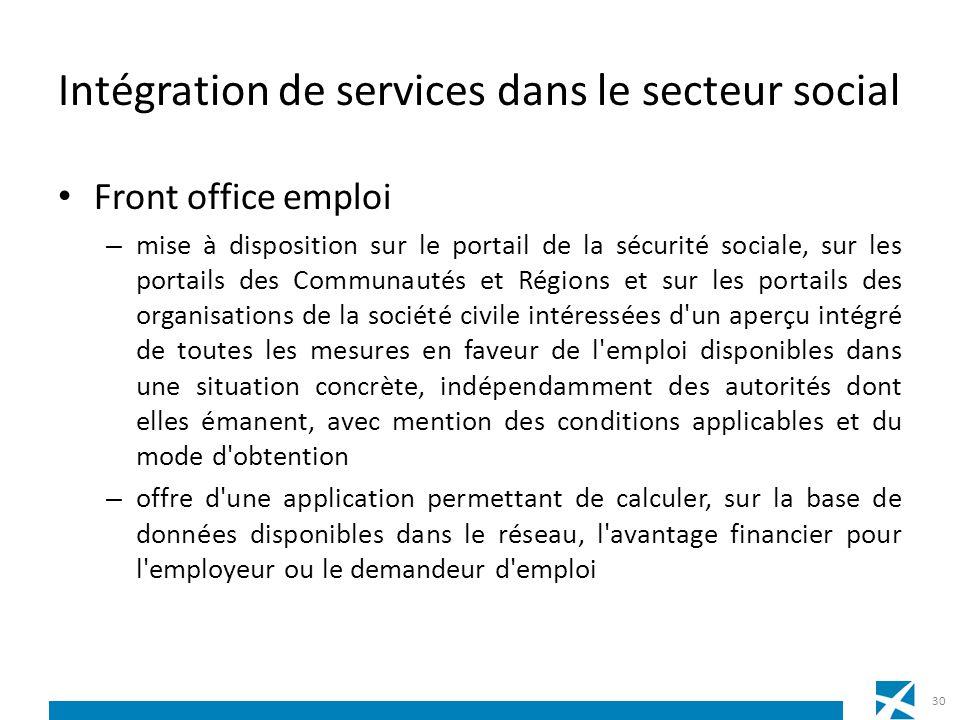 Intégration de services dans le secteur social Front office emploi – mise à disposition sur le portail de la sécurité sociale, sur les portails des Co