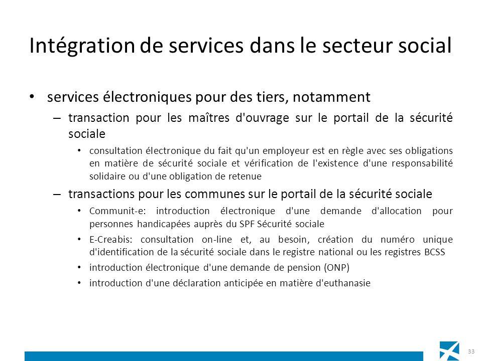 Intégration de services dans le secteur social services électroniques pour des tiers, notamment – transaction pour les maîtres d'ouvrage sur le portai