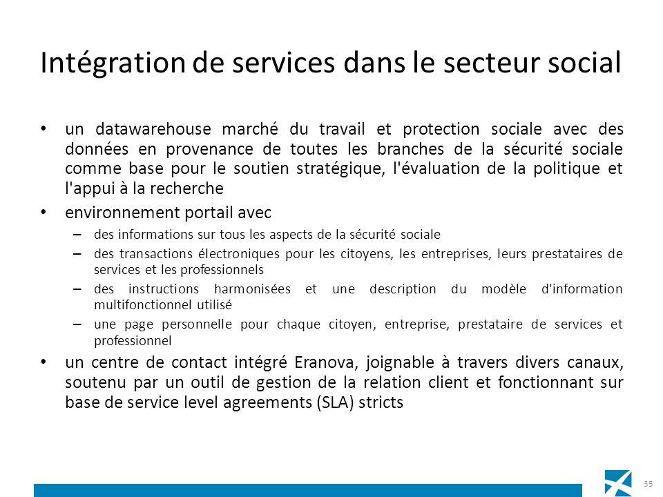 Intégration de services dans le secteur social un datawarehouse marché du travail et protection sociale avec des données en provenance de toutes les b