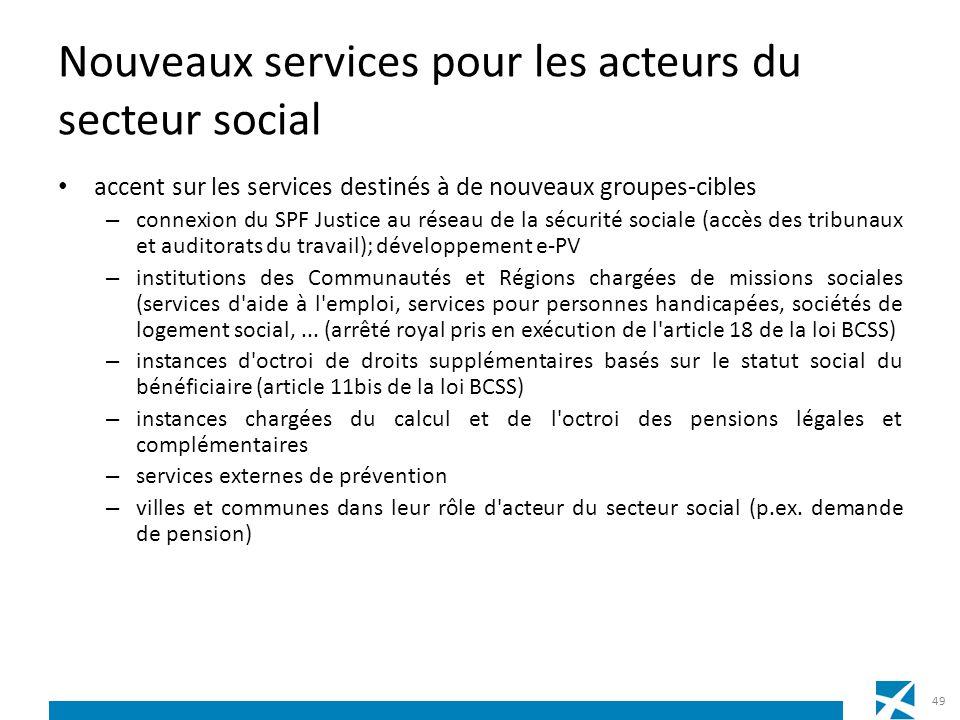 Nouveaux services pour les acteurs du secteur social accent sur les services destinés à de nouveaux groupes-cibles – connexion du SPF Justice au résea