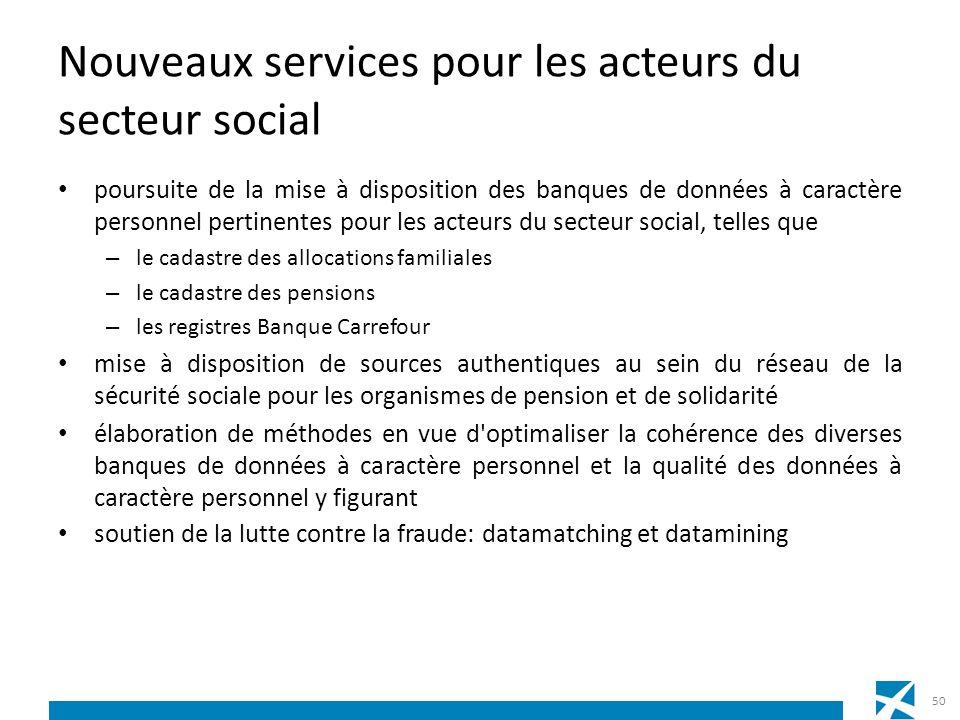 Nouveaux services pour les acteurs du secteur social poursuite de la mise à disposition des banques de données à caractère personnel pertinentes pour