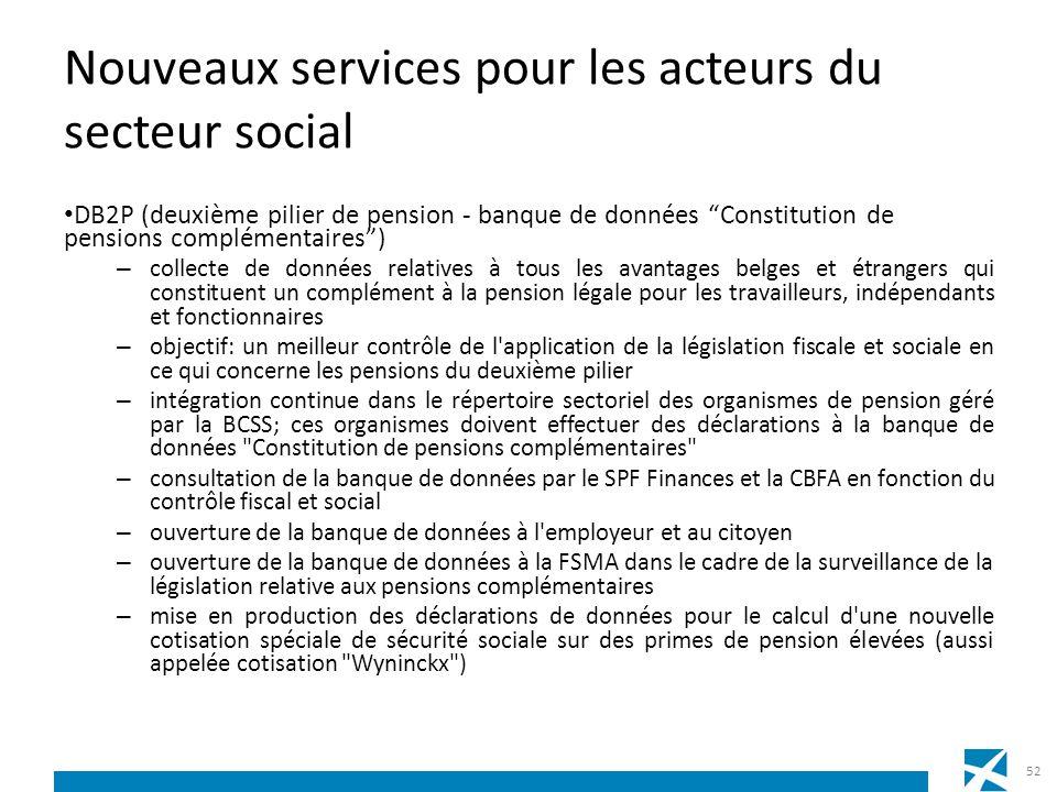 Nouveaux services pour les acteurs du secteur social DB2P (deuxième pilier de pension - banque de données Constitution de pensions complémentaires) –